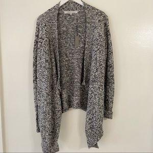 NWT Lovers + Friends Grey Sweater Waterfall Cardigan Chunky Knit Cozy Marled